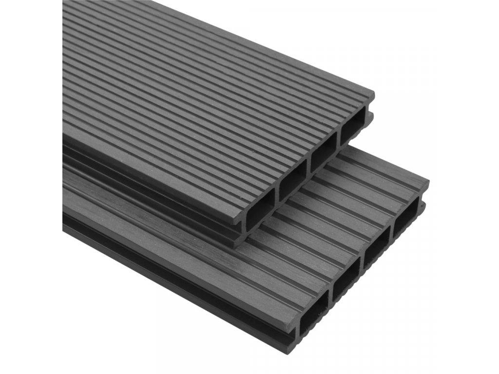 WPC podlahová prkna na terasu + příslušenství 26 m² 2,2 m šedá