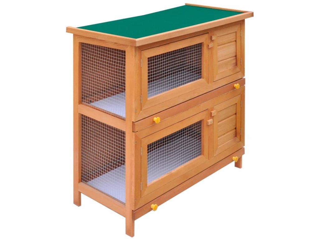 Zahradní králikárna/domek pro drobná zvířata 4 dvířka dřevěná