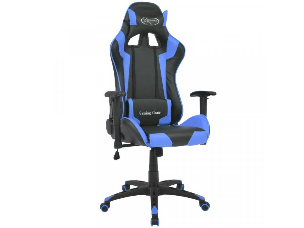 Polohovatelné kancelářské / herní křeslo, umělá kůže, modrá