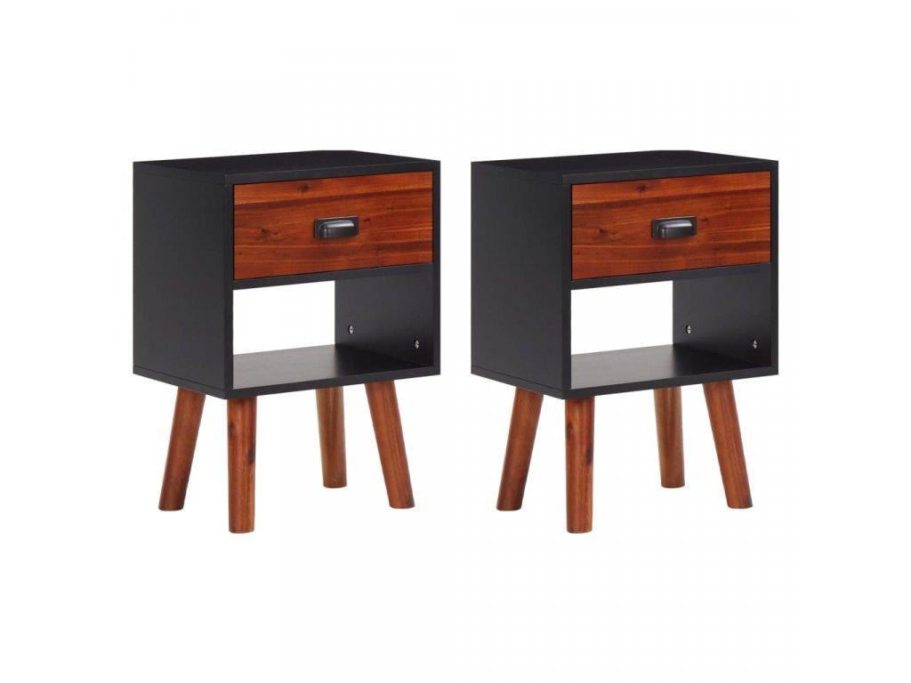 Noční stolek masivní akáciové dřevo 2 ks 40 x 30 x 58 cm