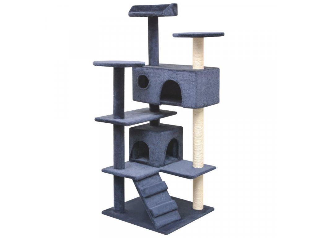 Škrabadlo pro kočky se sisalovými sloupky, 125 cm, tmavě modrá