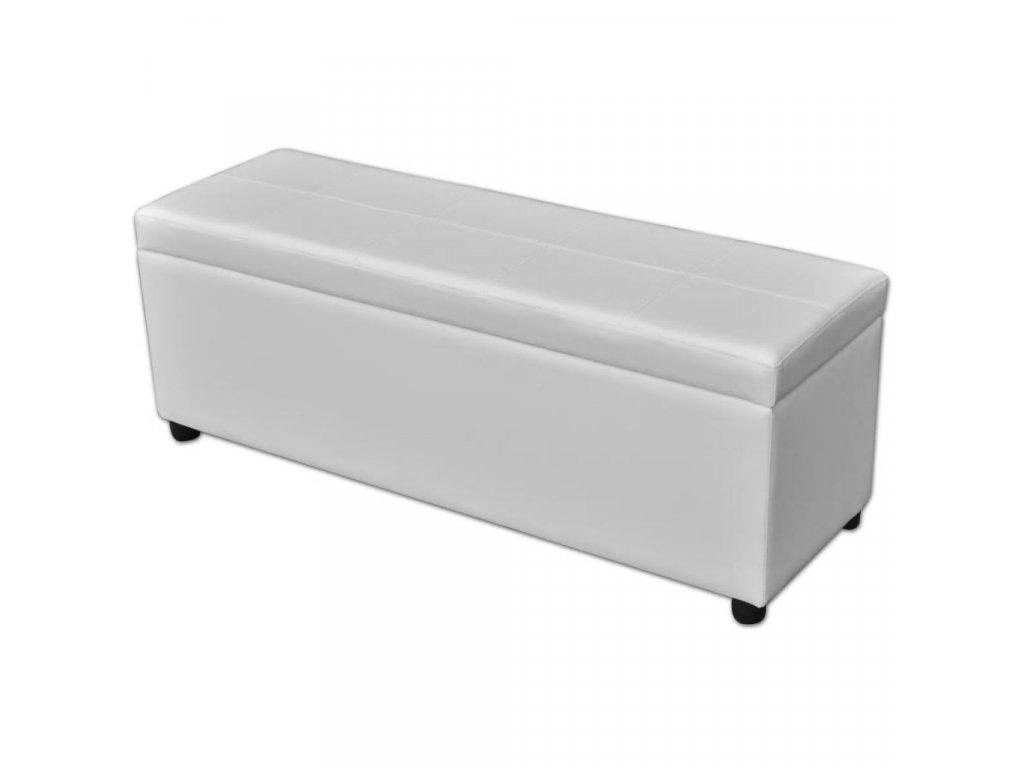 Dlouhá lavice s úložným prostorem dřevěná bílá
