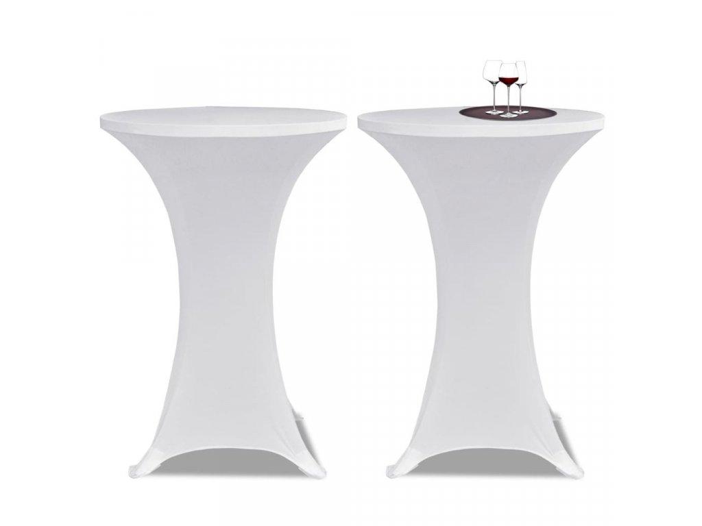 Potahy na koktejlový stůl Ø 80 cm, bílé strečové, 2 ks