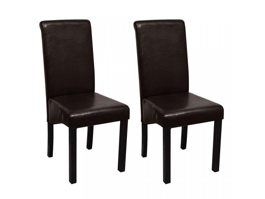 Jídelní židle 2 ks hnědé umělá kůže