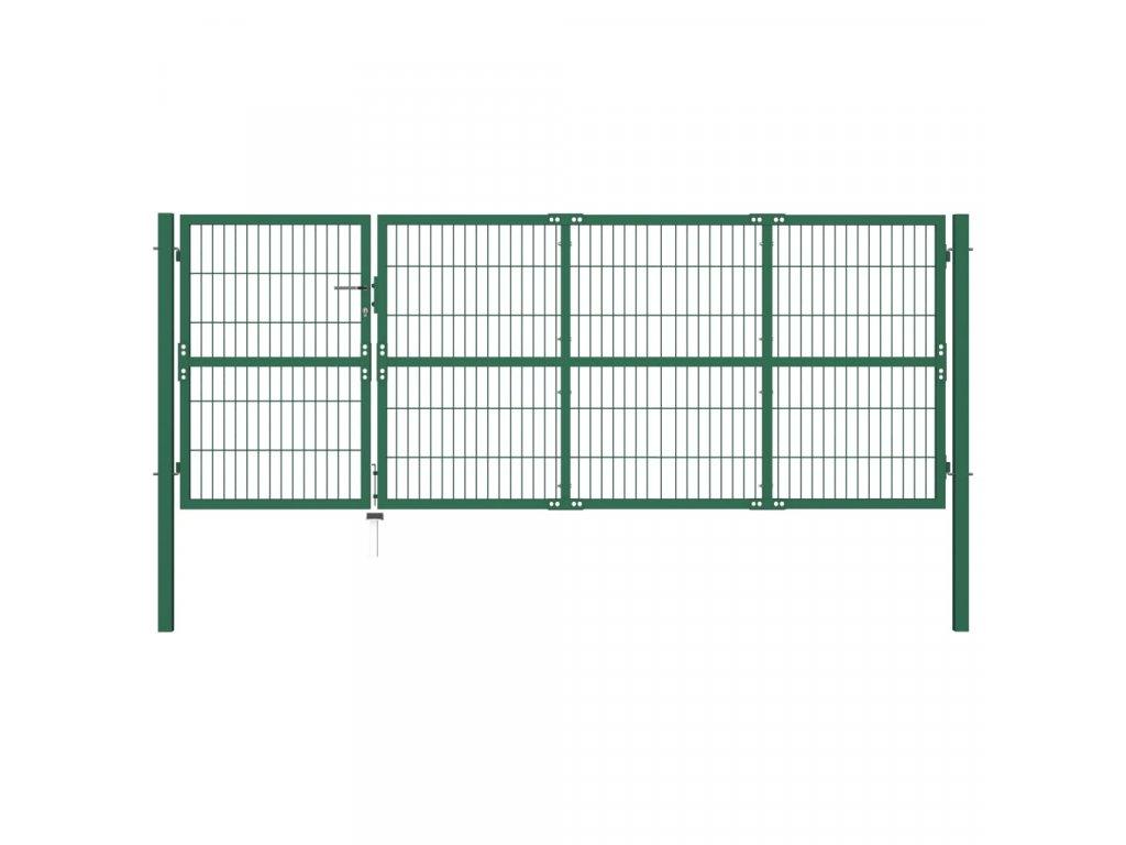 Zahradní plotová brána se sloupky 350 x 120 cm ocel zelená