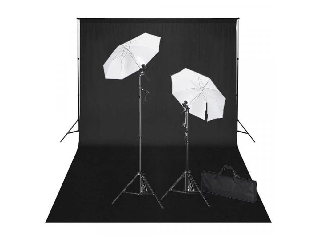 Studiová sada černé pozadí 600 x 300 cm a světla