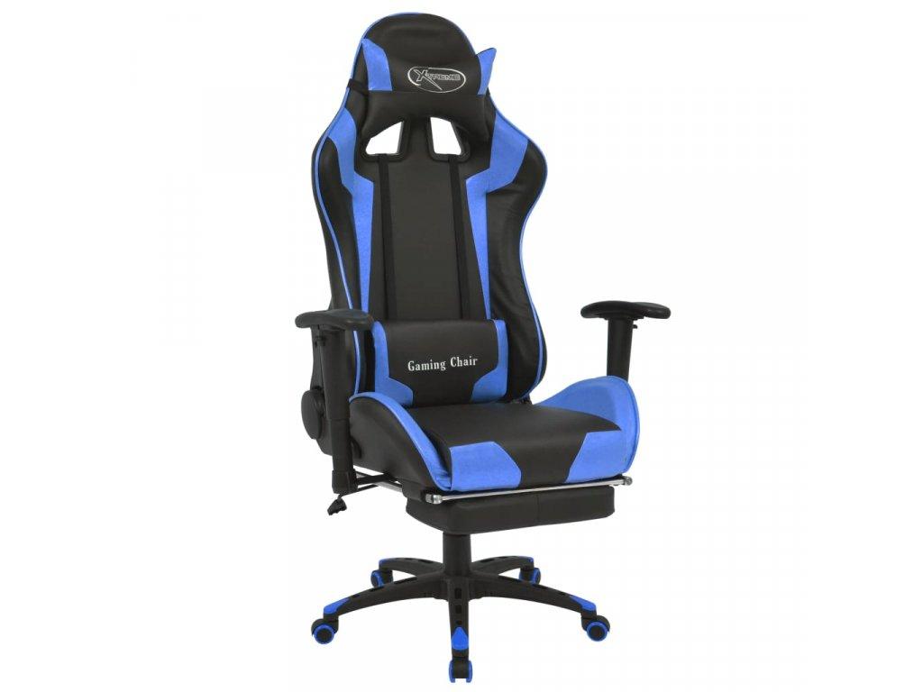 Polohovatelné kancelářské/herní křeslo s podnožkou modré