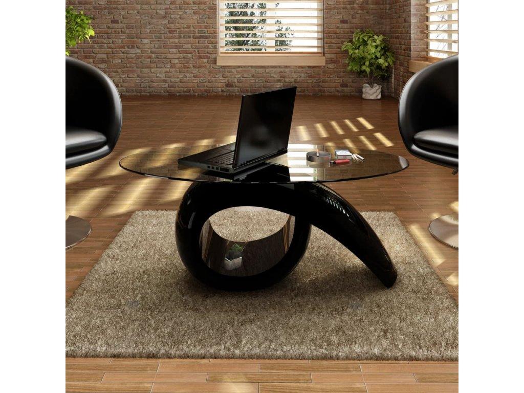 Konferenční stolek se skleněnou deskou a vysokým leskem černý