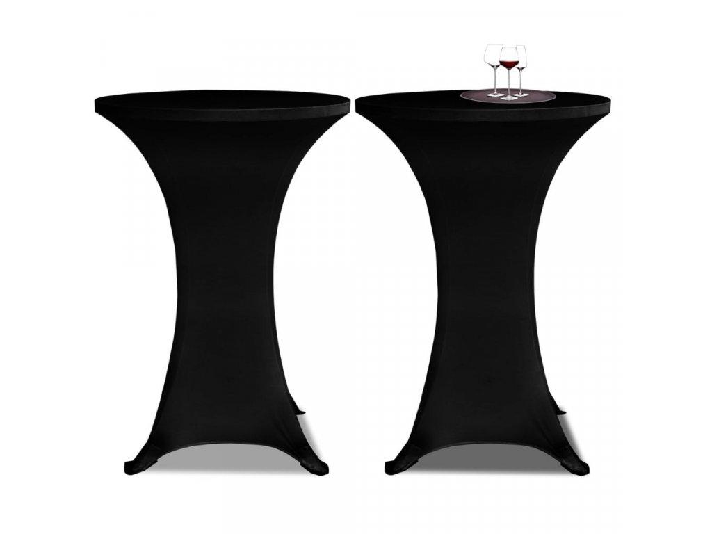Potahy na koktejlový stůl Ø 70 cm, černé strečové, 2 ks