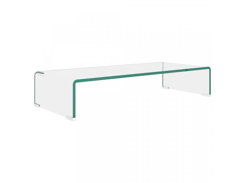 TV stolek / podstavec na monitor čiré sklo 70x30x13 cm