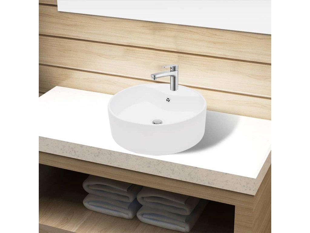 Koupelnové umyvadlo keramické kulaté bílé, otvor na baterií, přepad