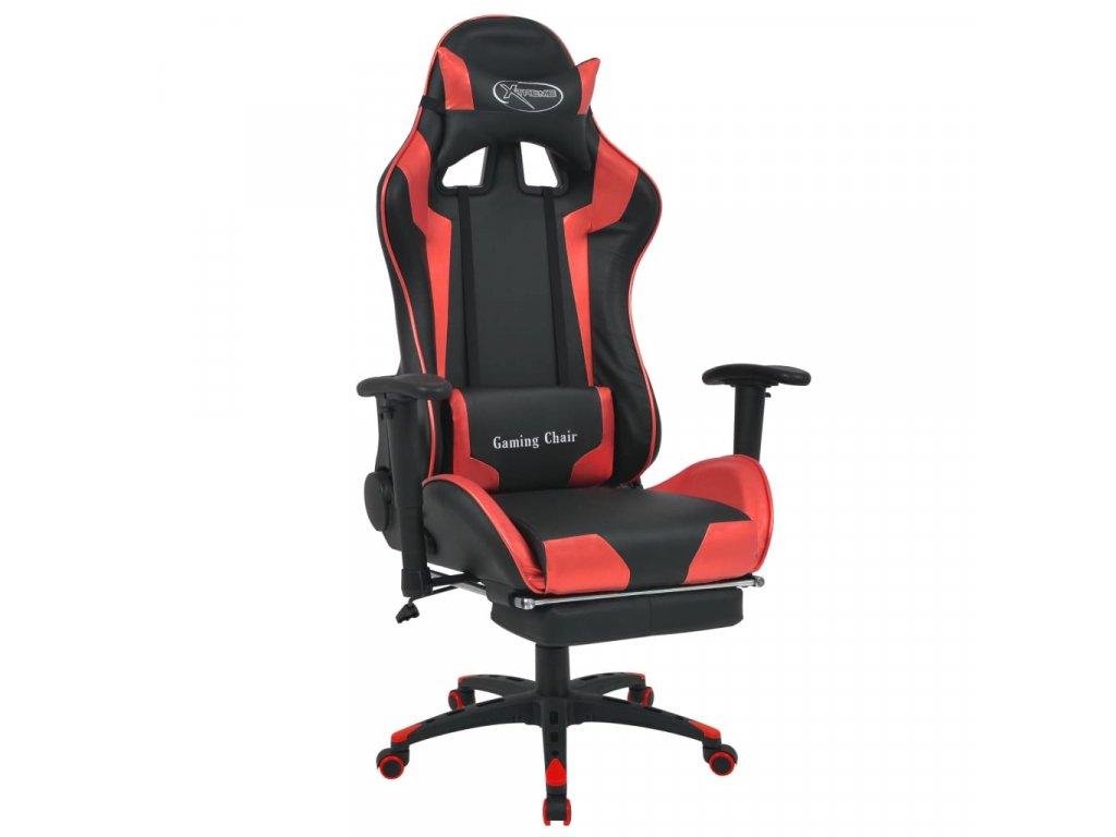 Polohovatelné kancelářské / herní křeslo s podnožkou, červená