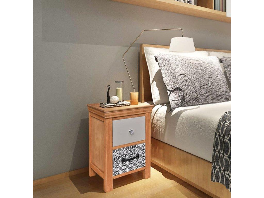 Noční stolek se zásuvkami 34x34x46 cm masivní dřevo