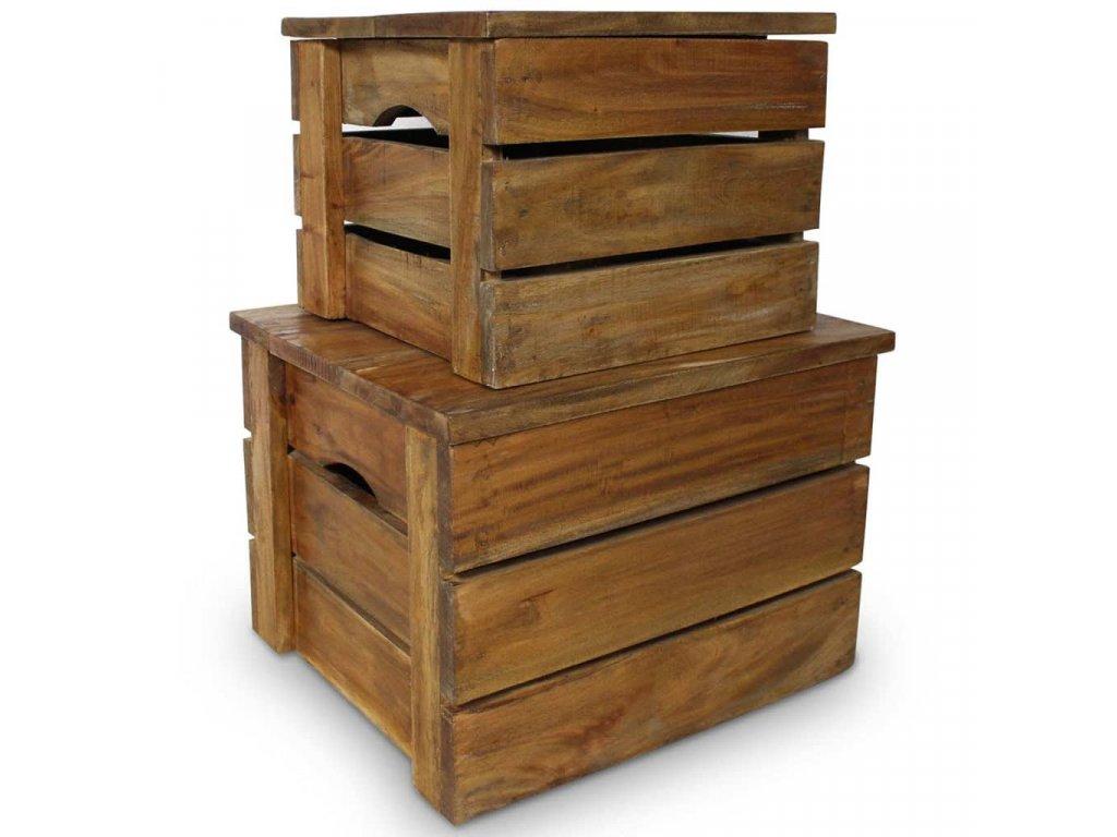 2dílná sada úložných boxů z masivního recyklovaného dřeva