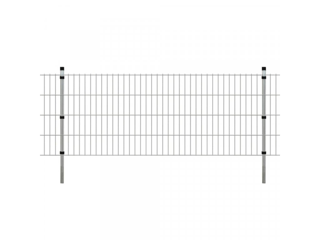 2D Zahradní plotové dílce a sloupky 2008x830 mm 34 m stříbrné