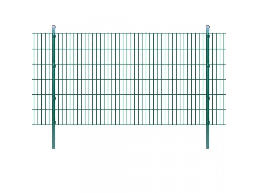 2D Zahradní plotové dílce a sloupky 2008x1230 mm 34 m zelené