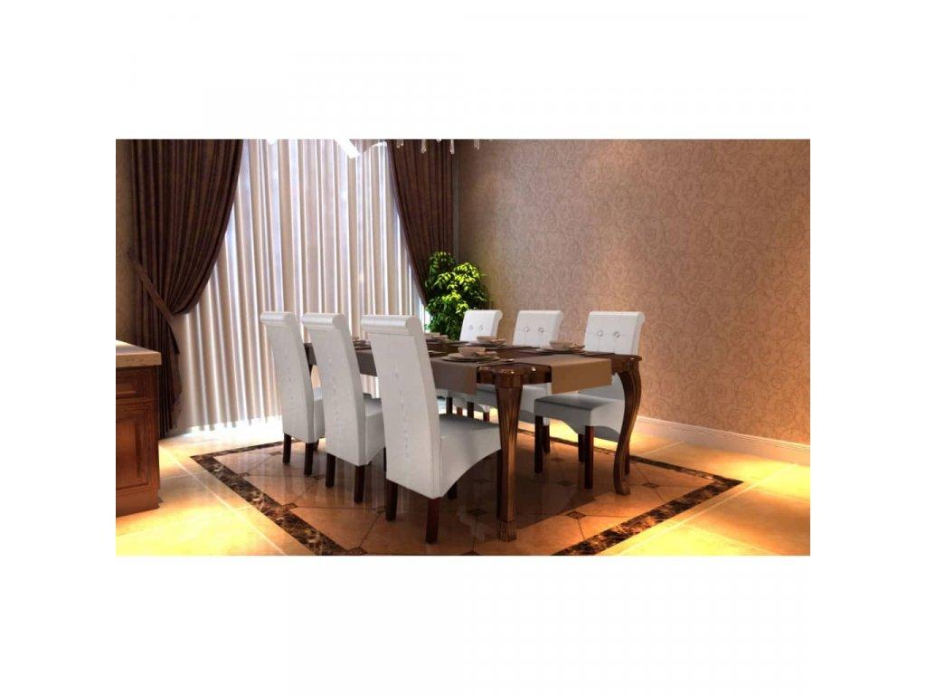 Jídelní židle 6 ks bílé umělá kůže