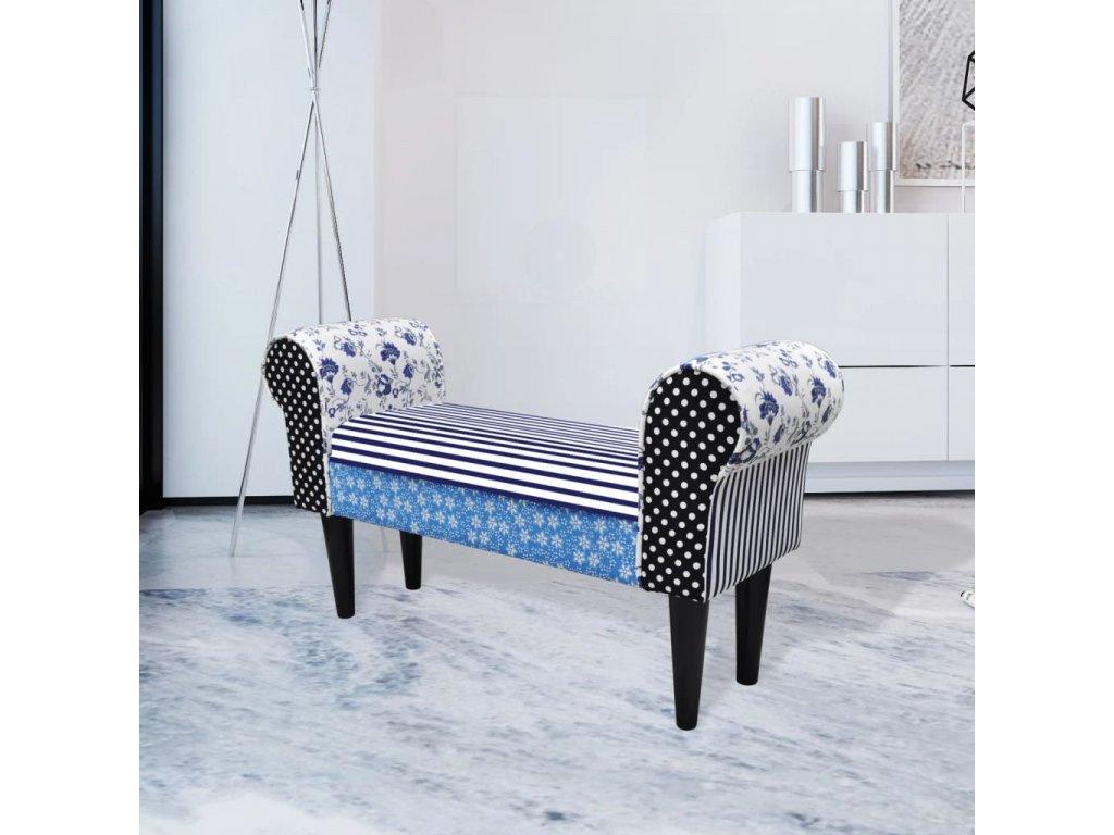 Patchworková lavice modrá a bílá
