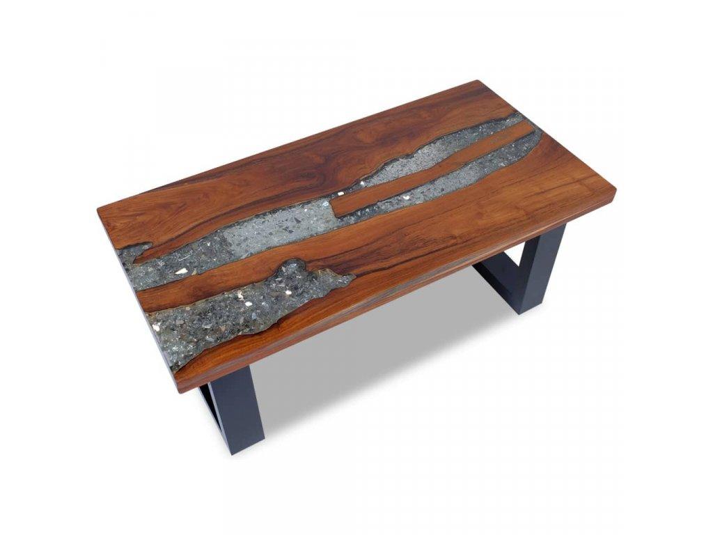 Konferenční stolek, teak a pryskyřice 100x50 cm