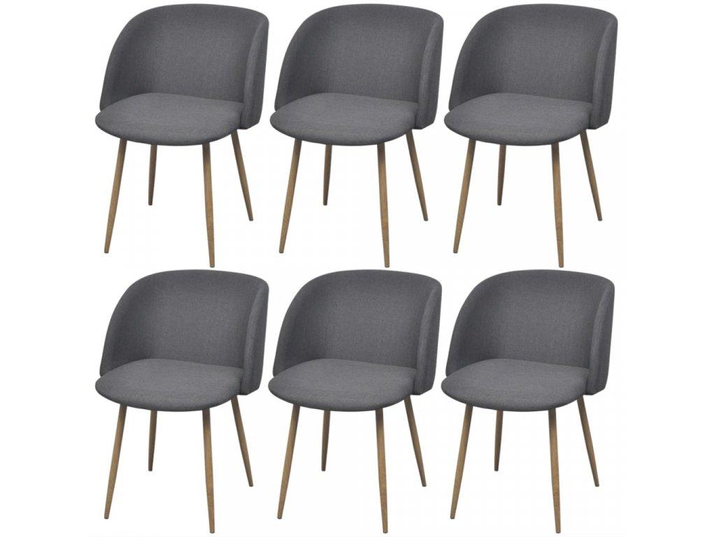 Jídelní židle 6 ks tmavě šedé