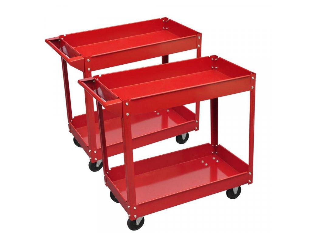 2 x Dílenský vozík se 2 policemi a 4 kolečky - 100 kg - červený
