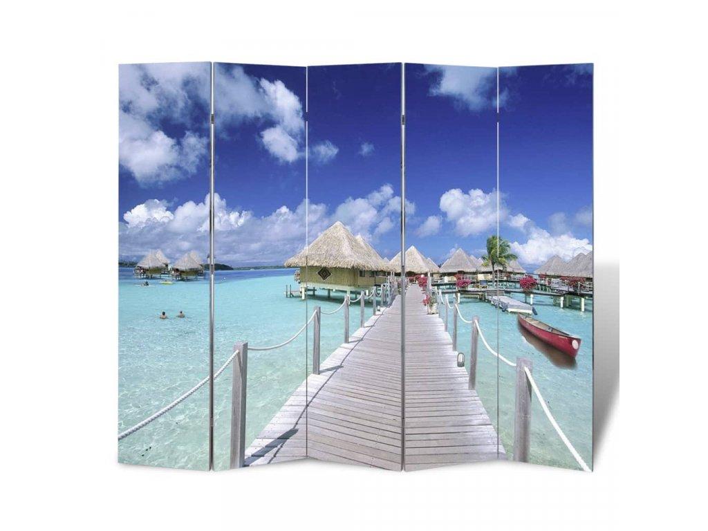 Skládací paraván 200 x 170 cm pláž