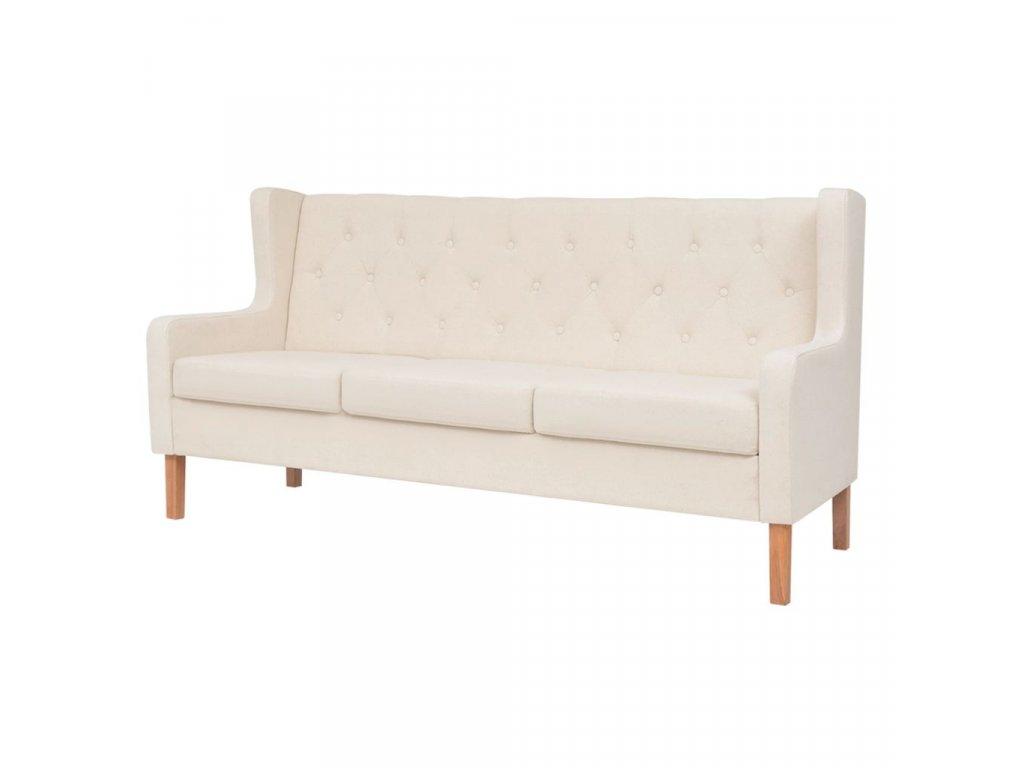 Trojmístná sedačka, textilní čalounění, krémově bílá