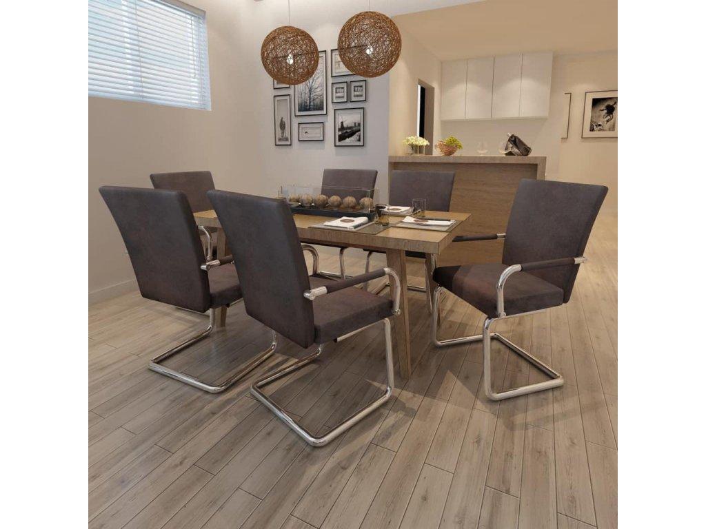 Konzolové jídelní židle 6 ks hnědé umělá kůže
