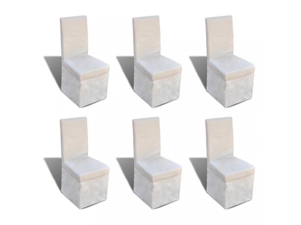Jídelní židle 6 ks krémově bílé textil