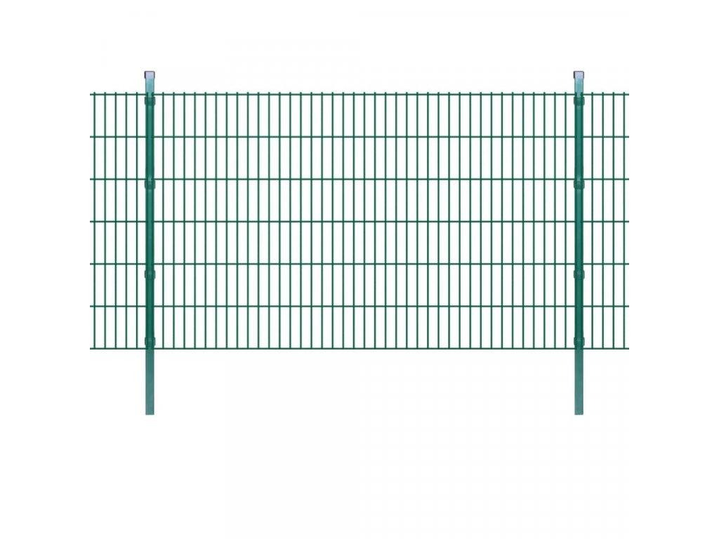 2D zahradní plotové dílce a sloupky 2008x1230 mm, 50 m, zelené