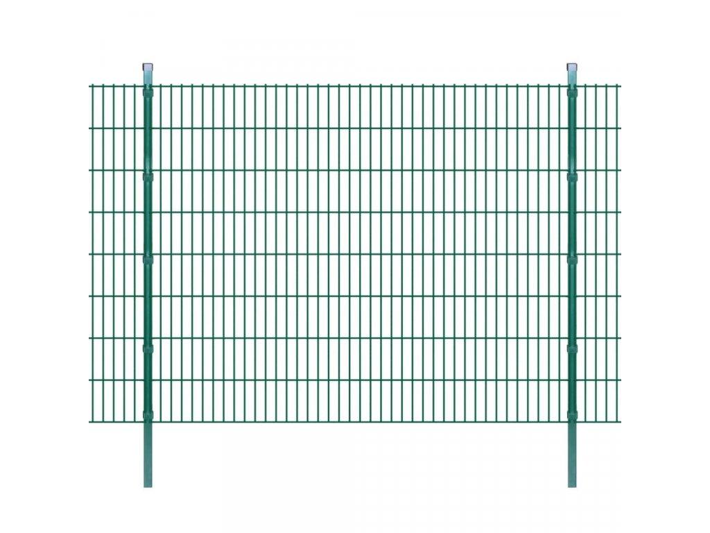 2D zahradní plotové dílce a sloupky 2008x1630 mm, 50 m, zelené