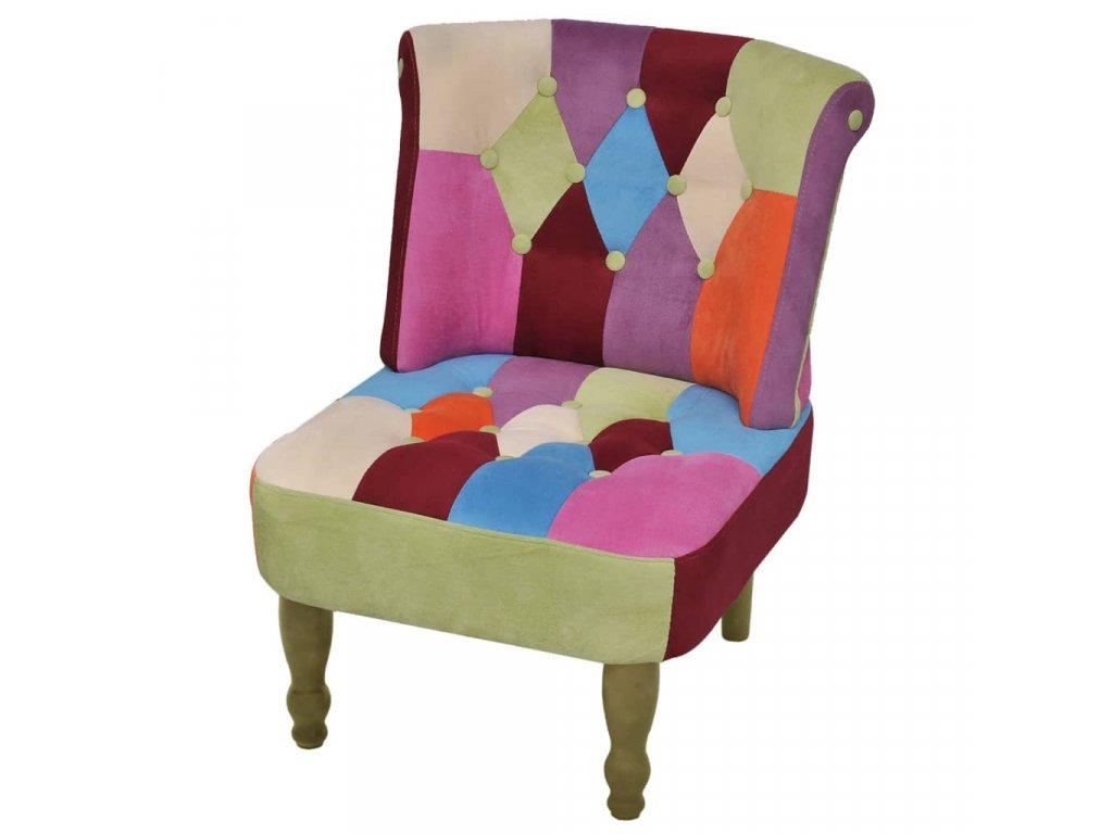 Francouzské křeslo patchwork textil