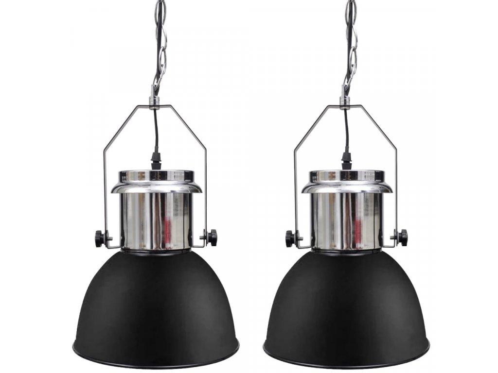 Kovová stropní lampa 2 ks s nastavitelnou výškou moderní černá