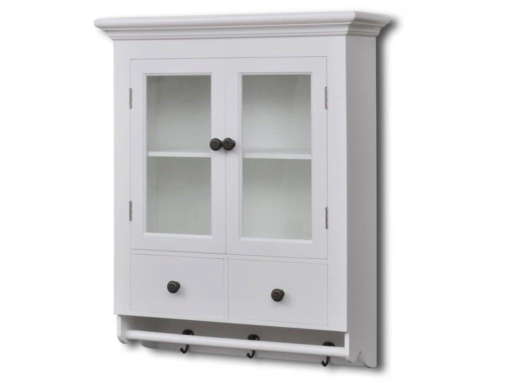 Dřevěná kuchyňská skříňka nástěnná s prosklenými dvířky bílá