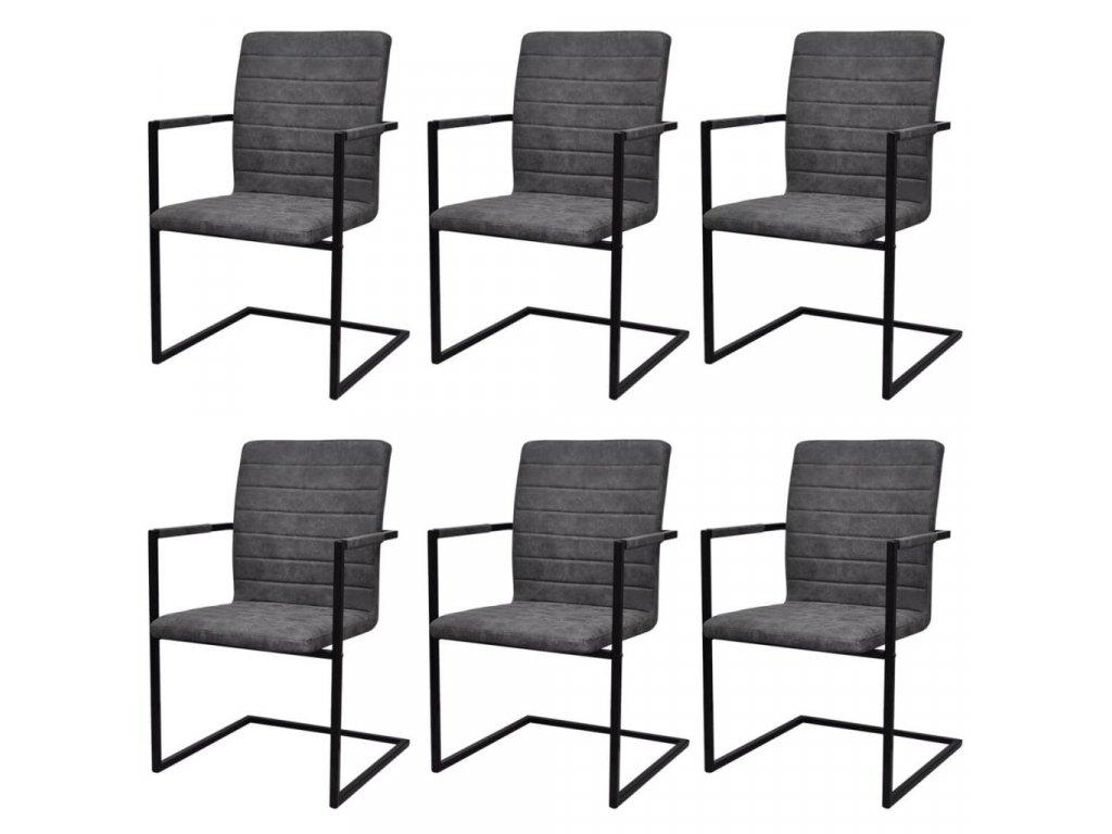 Konzolové jídelní židle 6 ks šedé umělá kůže