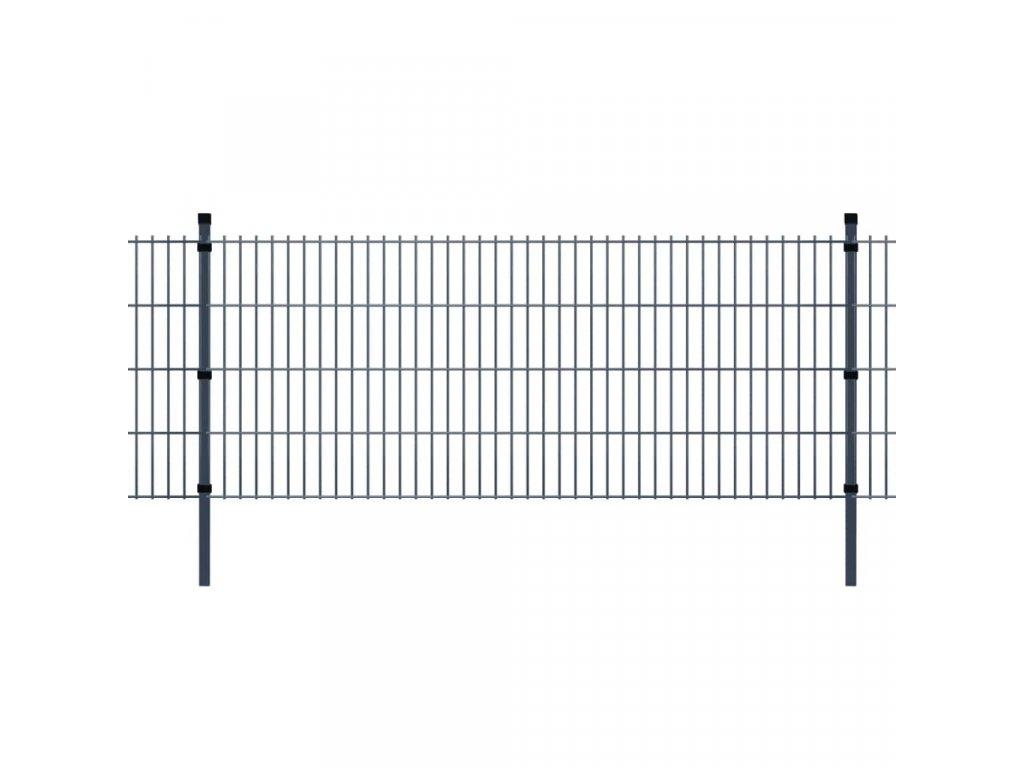 2D Zahradní plotové dílce a sloupky 2008x830 mm 8 m šedé