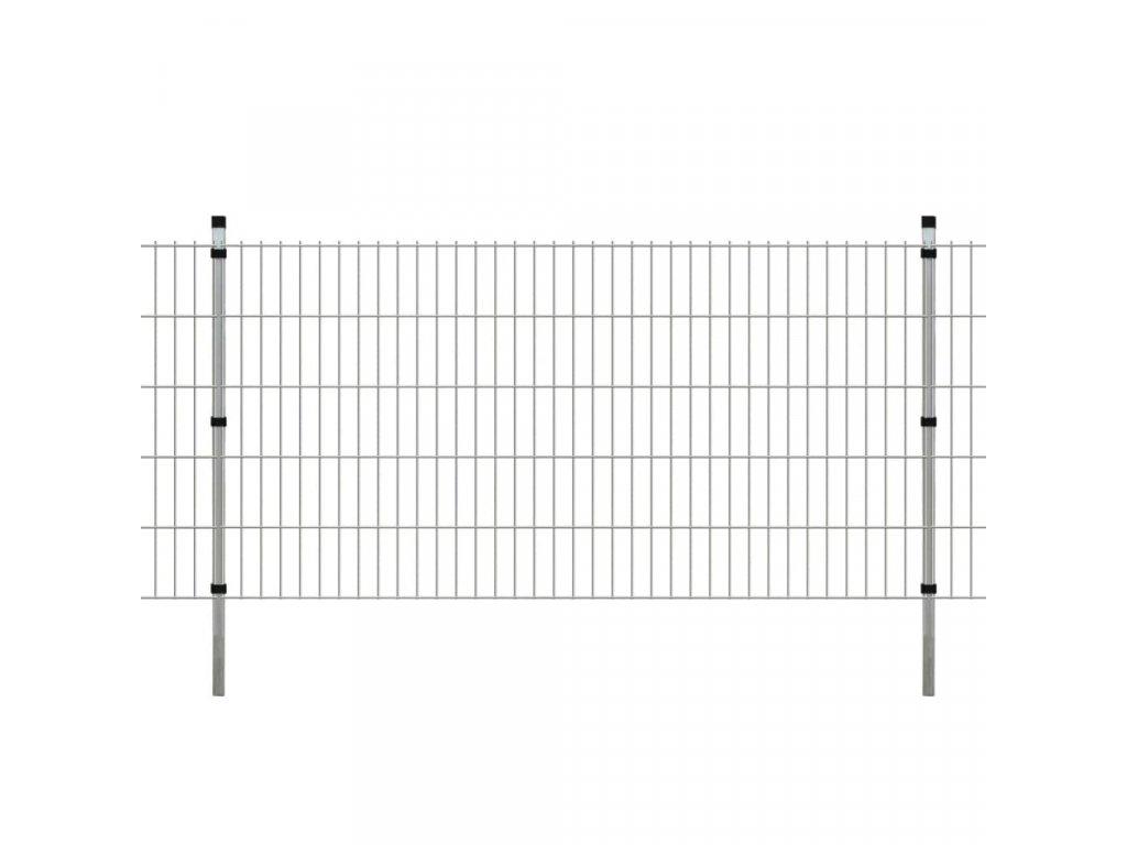 2D Zahradní plotové dílce a sloupky 2008x1030 mm 8 m stříbrné