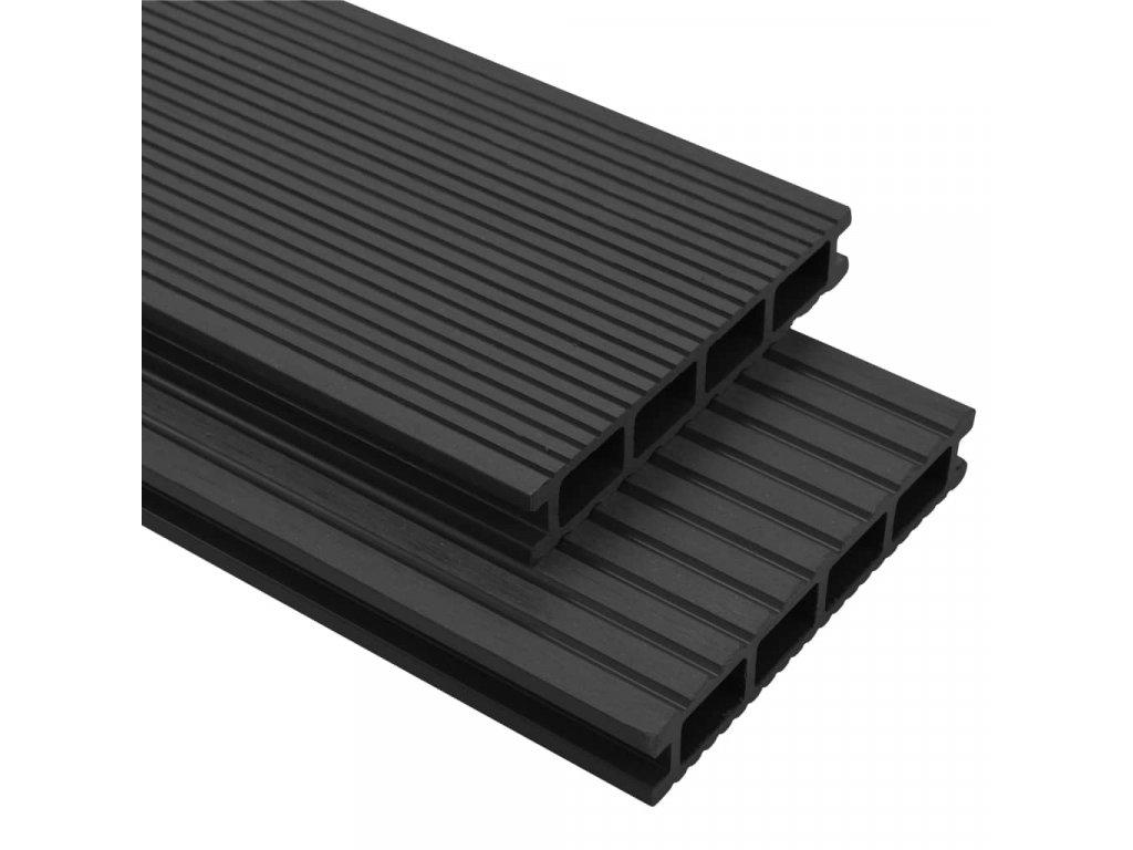WPC terasová prkna + příslušenství 16 m² 2,2 m antracitová