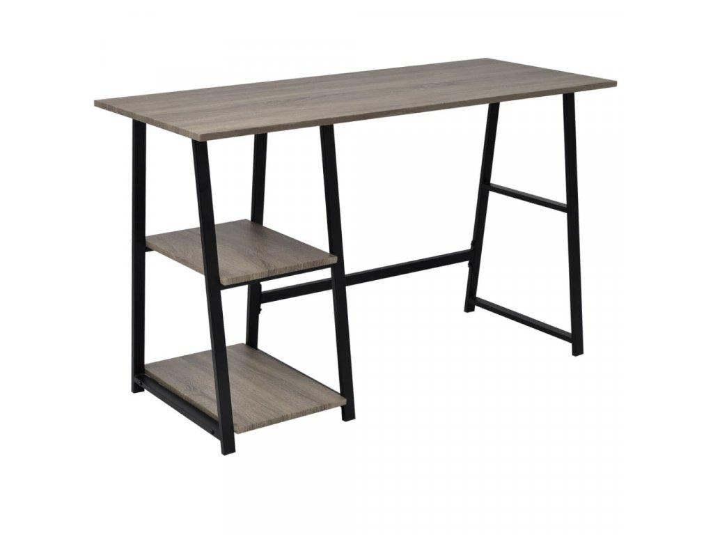 Psací stůl se 2 policemi, šedá / dub
