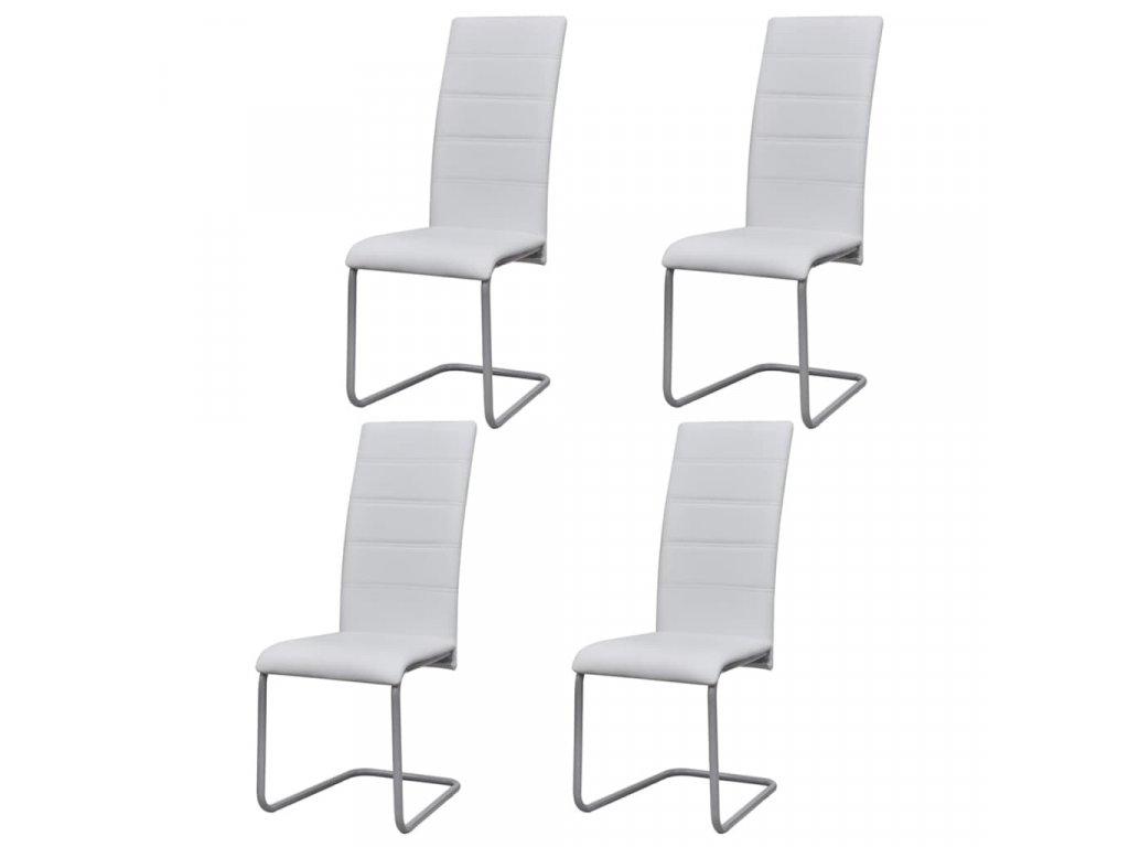 Konzolové jídelní židle 4 ks bílé umělá kůže