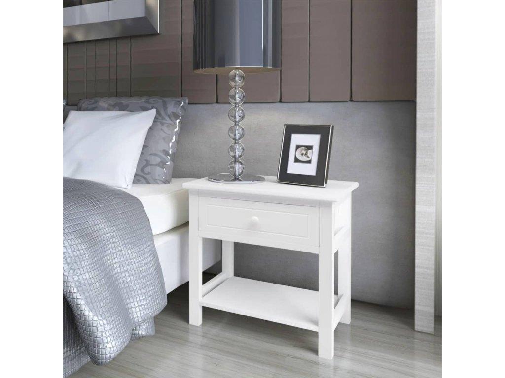 Noční stolky 2 ks dřevěné bílé