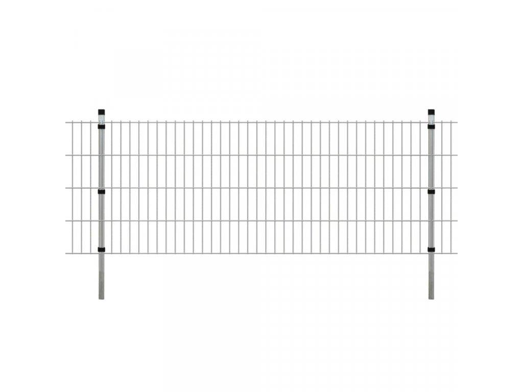 2D Zahradní plotové dílce a sloupky 2008x830 mm 12 m stříbrné