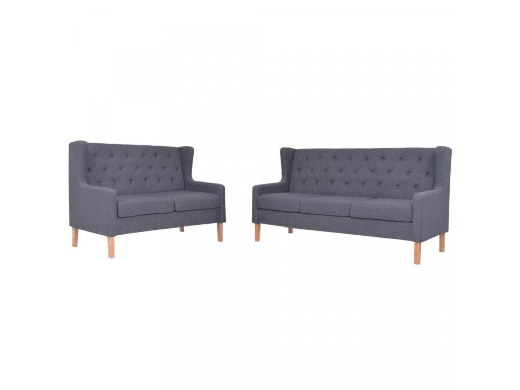 2dílná sedací souprava textilní čalounění tmavě šedá