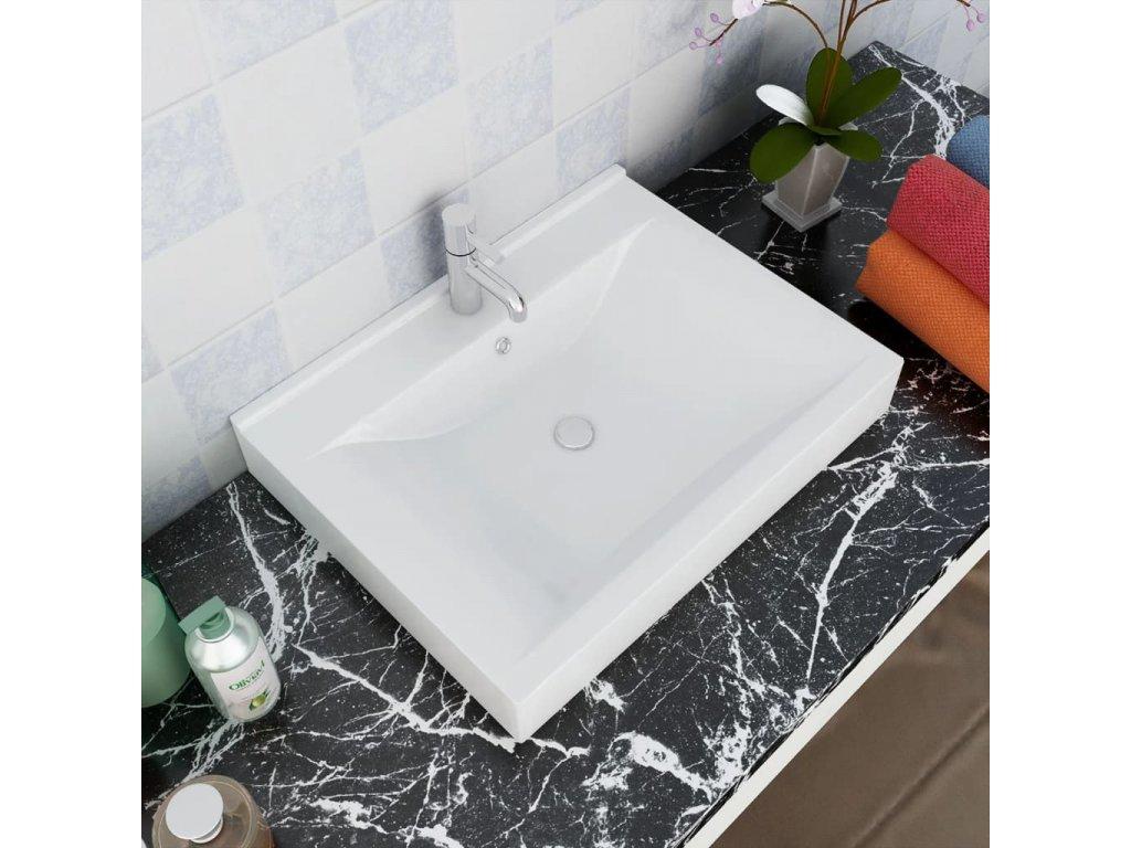 Luxusní obdélníkové keramické umyvadlo bílé s otvorem na baterii, 60x46 cm