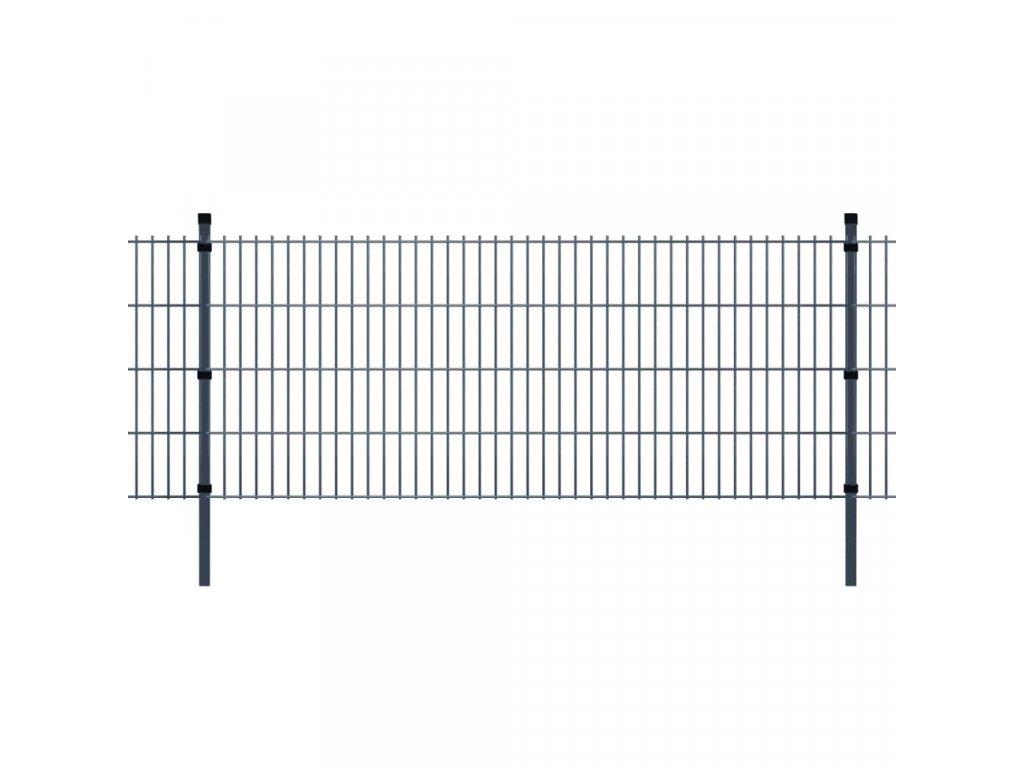 2D Zahradní plotové dílce a sloupky 2008x830 mm 14 m šedé