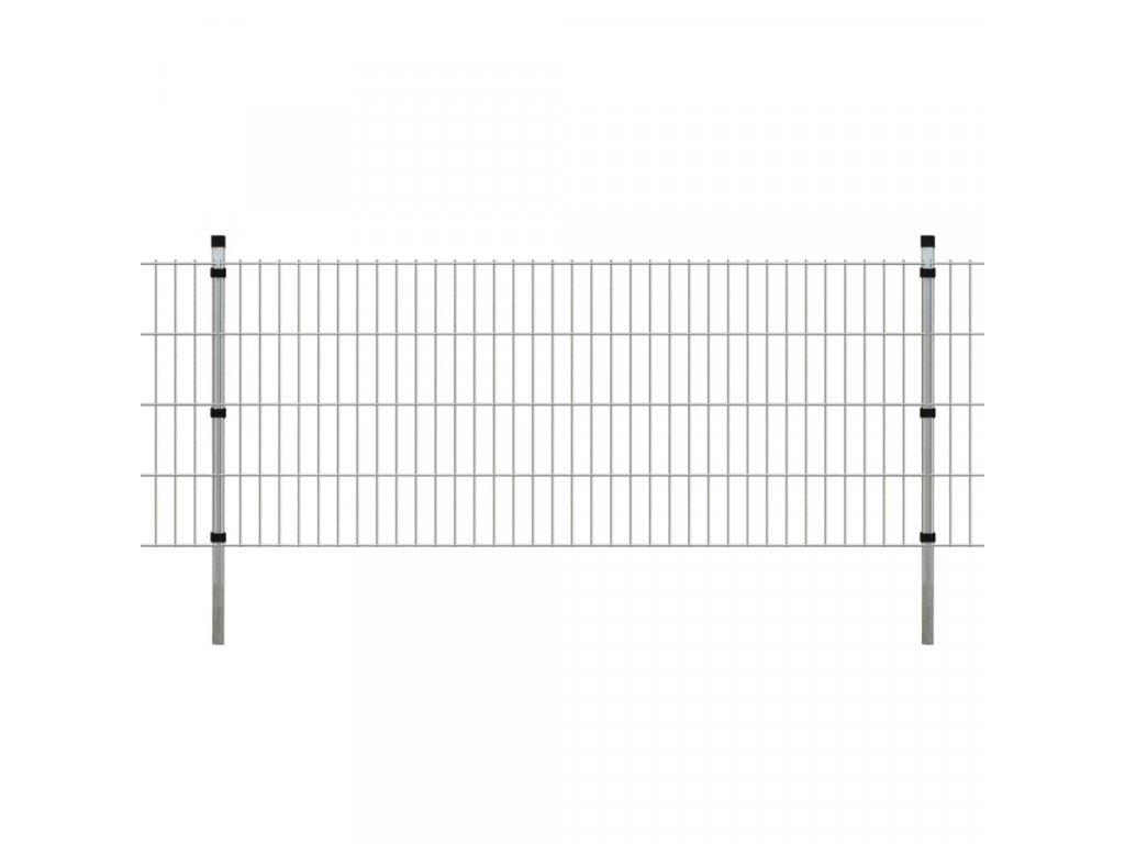 2D Zahradní plotové dílce a sloupky 2008x830 mm 14 m stříbrné
