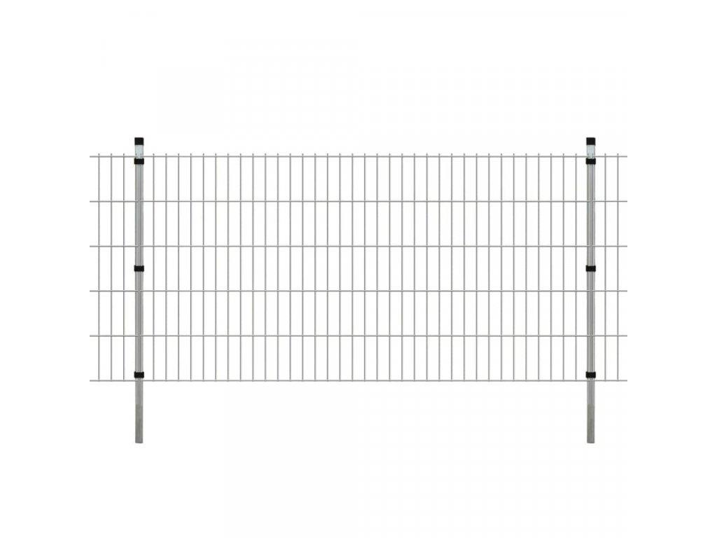 2D Zahradní plotové dílce a sloupky 2008x1030 mm 14 m stříbrné