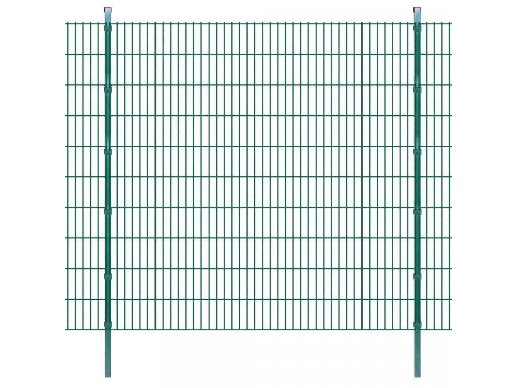 2D zahradní plotové dílce a sloupky 2008x2030 mm 14 m zelené