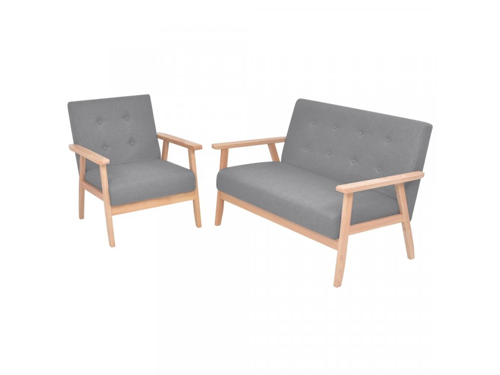 2dílná sedací souprava textilní čalounění světle šedá