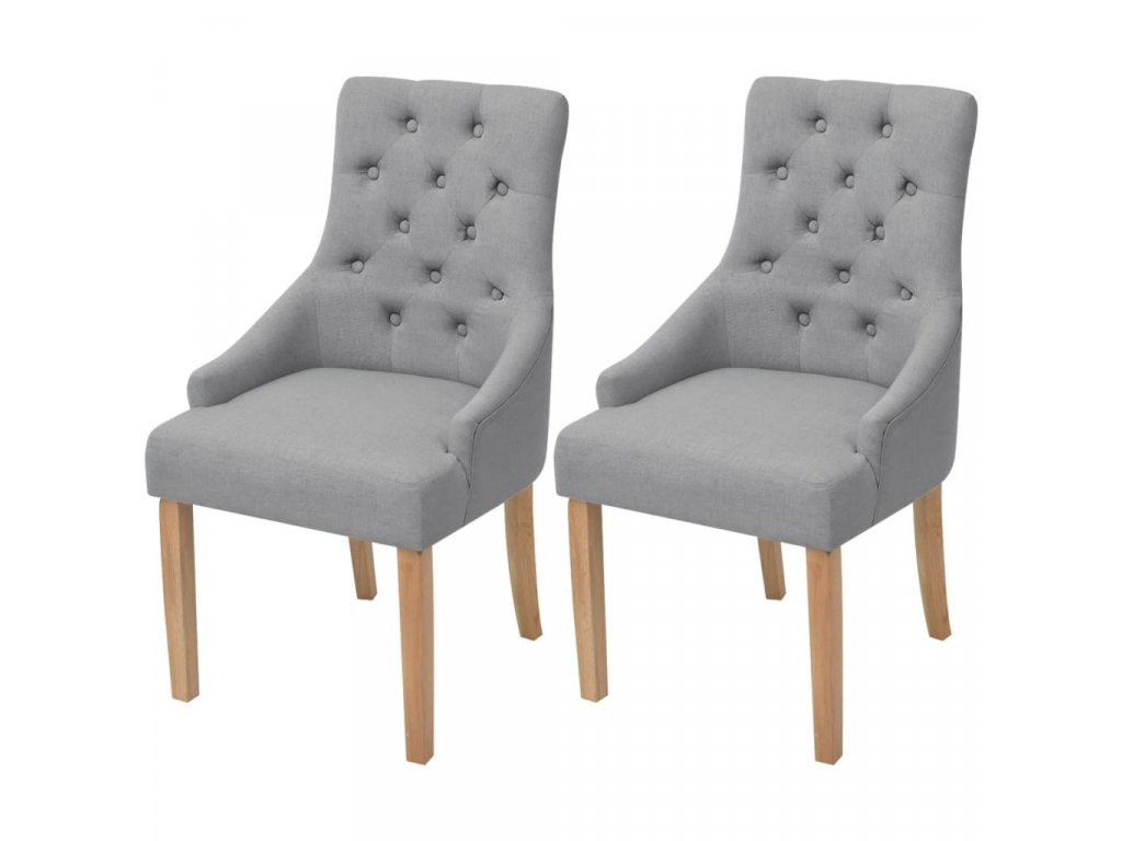 Jídelní židle 2 ks světle šedé textil